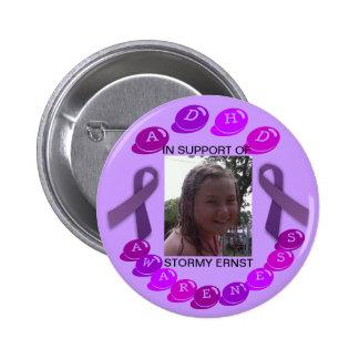Stormy ADHD Awareness button (customizable)