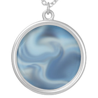 Stormy angry seas abstract pattern round pendant necklace