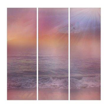Beach Themed Stormy Beach Lavender Peach dove ocean art Triptych