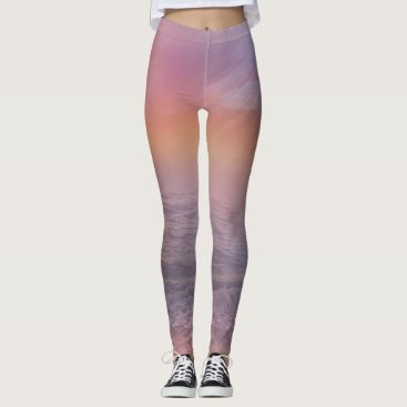 Beach Themed Stormy Beach Lavender Peach dove ocean Leggings