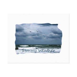 Stormy Beach with Seagulls Image Text Canvas Print
