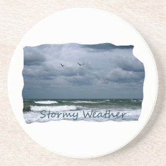 Stormy Beach with Seagulls Image Text Drink Coaster