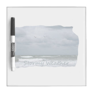 Stormy Beach with Seagulls Image Text Dry-Erase Whiteboards