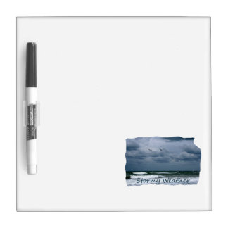 Stormy Beach with Seagulls Image Text Dry Erase Boards