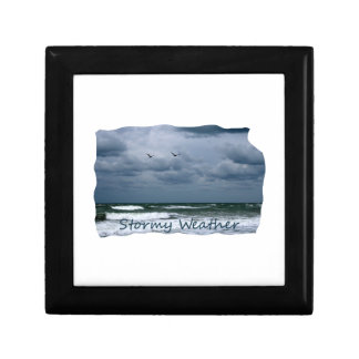 Stormy Beach with Seagulls Image Text Gift Box