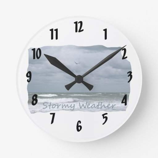 Stormy Beach with Seagulls Image Text Round Clock