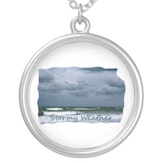 Stormy Beach with Seagulls Image Text Round Pendant Necklace
