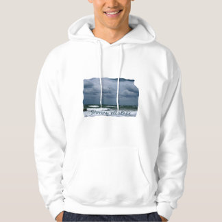 Stormy Beach with Seagulls Image Text Sweatshirt