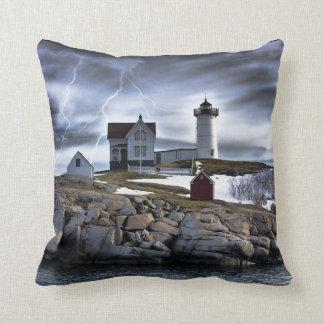 "Stormy Cape Neddick ""Nubble"" light house Throw Pillow"