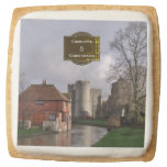 Stormy Castle And River Personalized Wedding Square Shortbread Cookie