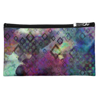 Stormy colorful watercolor abstract w/ diamonds cosmetic bag