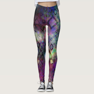 Stormy colorful watercolor abstract w/ diamonds leggings