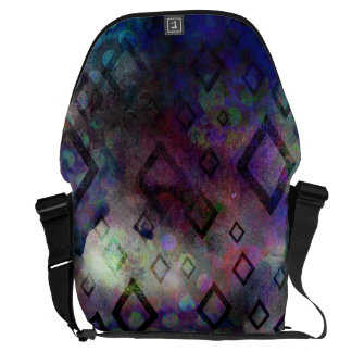 Stormy colorful watercolor abstract w/ diamonds messenger bag
