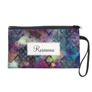 Stormy colorful watercolor abstract w/ diamonds wristlet purse