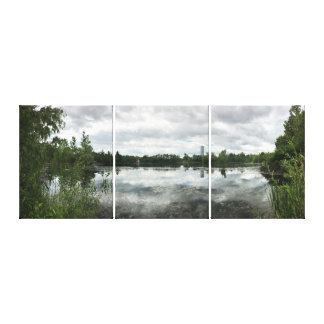 Stormy Day at the Jersey City Reservoir Triptych Canvas Print