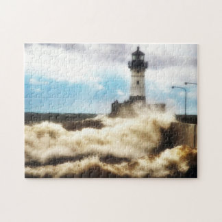 Stormy Day, Lighthouse Duluth Minnesota Jigsaw Puzzle