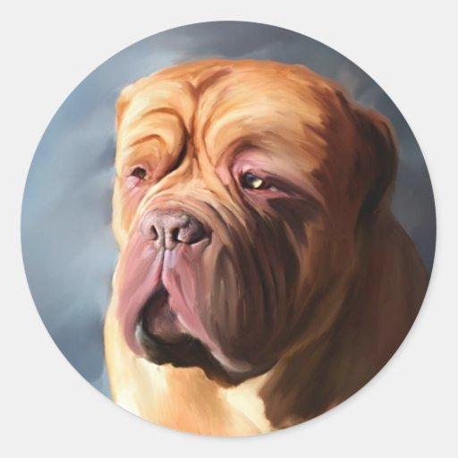 Stormy Dogue - Dogue de Bordeaux Art Round Stickers