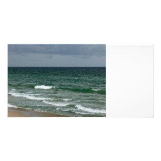 Stormy florida green ocean photo card