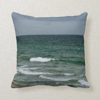 Stormy florida green ocean pillow