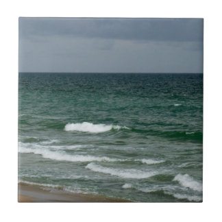 Stormy florida green ocean small square tile