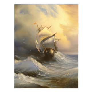 Stormy Frigate Painting Postcard
