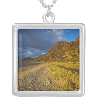 Stormy light on Isla Carmen in the Gulf of Silver Plated Necklace