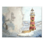 Stormy Lighthouse 4.25x5.5 Paper Invitation Card