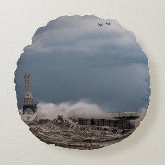 Stormy Lighthouse Pillow Round Pillow