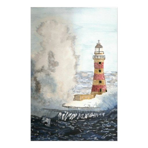 Stormy Lighthouse Stationery Design