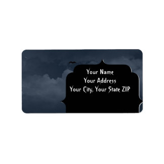 Stormy Night with Bats Halloween Address Label