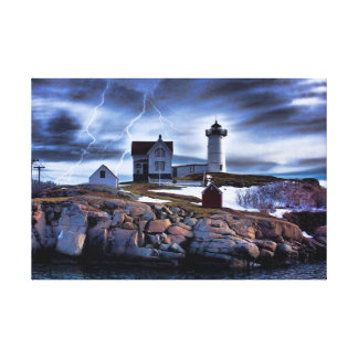 "Stormy ""nubble"" Cape Neddick Maine lighthouse! Canvas Print"