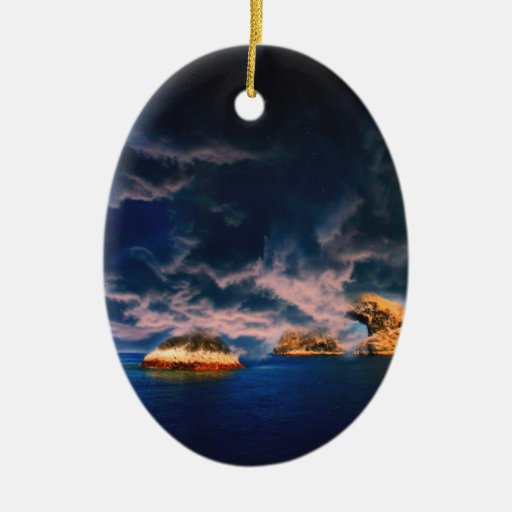 stormy oasis  pastel christmas ornament