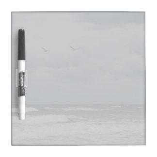 Stormy ocean with birds flying Dry-Erase board