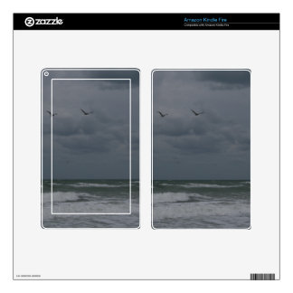 Stormy ocean with birds flying skins for kindle fire