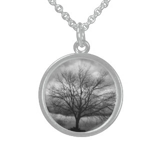 Stormy Rain Coulds tree photography -Necklace Round Pendant Necklace