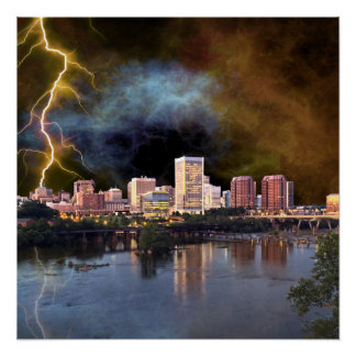 Stormy Richmond Skyline Poster