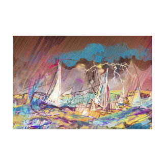 STORMY SAILBOATS CANVAS PRINT