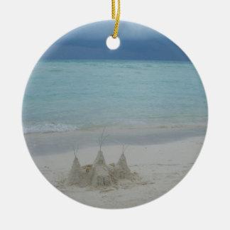 Stormy Sandcastle Beach Landscape Ceramic Ornament