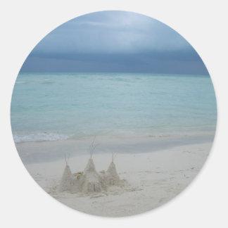Stormy Sandcastle Beach Landscape Classic Round Sticker