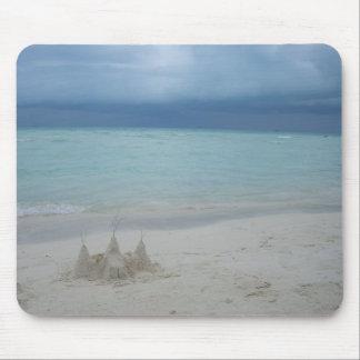 Stormy Sandcastle Beach Landscape Mouse Pad