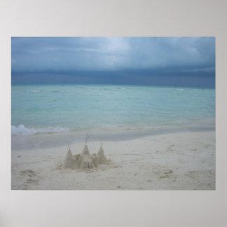 Stormy Sandcastle Beach Landscape Poster