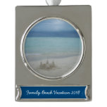 Stormy Sandcastle Beach Landscape Silver Plated Banner Ornament