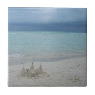 Stormy Sandcastle Beach Landscape Tile