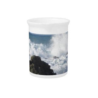 Stormy sea along Tuscany coastline Beverage Pitcher