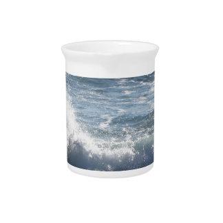 Stormy sea along Tuscany coastline in Livorno Drink Pitcher