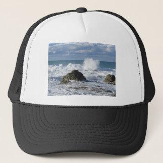 Stormy sea along Tuscany coastline Trucker Hat
