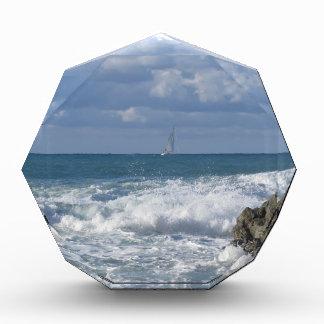 Stormy sea and sailboat along Tuscany coastline Acrylic Award