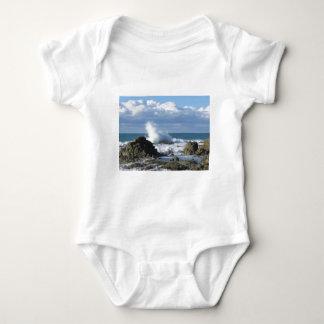 Stormy sea and sailboat along Tuscany coastline Baby Bodysuit