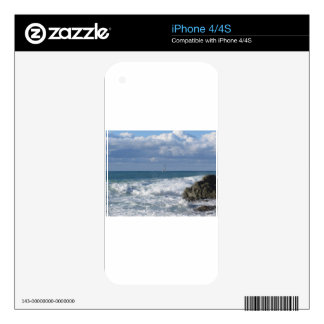 Stormy sea and sailboat along Tuscany coastline Decal For The iPhone 4
