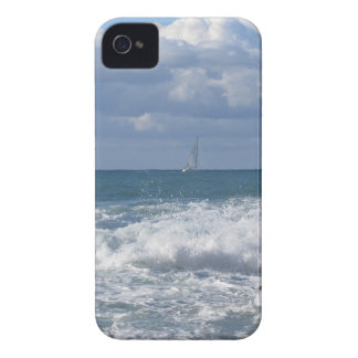 Stormy sea and sailboat along Tuscany coastline iPhone 4 Case-Mate Cases